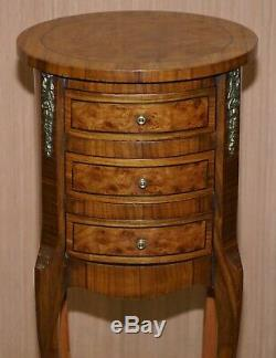 Lovely Pair Of Vintage French Burr Walnut Ormolu Mounted Side Tables Drawers