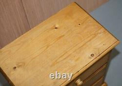 Lovely Small English Oak Vintage Circa 1960's Bedside Table Chest Of Drawers