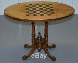 Lovely Victorian 1880 Walnut & Boxwood Marquetry Inlaid Chess Games Oval Table