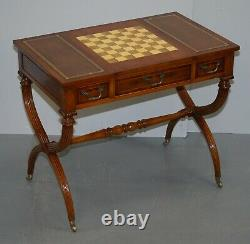Lovely Vintage French Dicectoire Games Table Desk Chess Backgammon Brown Leather