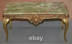 Lovely Vintage French Thick Marble Topped Coffee Or Cocktail Table Gilt Frame