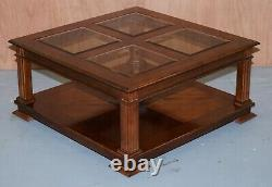 Lovely Vintage Mahogany Coffee Table With Glass Top