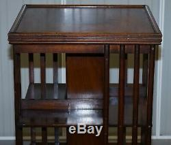 Mahogany Edwardian Revolving Library Bookcase Great Side Table Size On Wheels