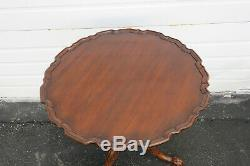 Mahogany Pie Crust Round Tilt Top Center Side Table by Henkel Harris 9807