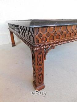 Maitland Smith Chinese Chippendale Tessellated Stone Cocktail Table 50w x 40d