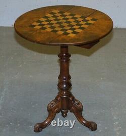 Matching Pair Of Victorian Burl & Burr Walnut Chessboard Tripod Base Side Tables