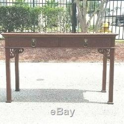 Mid-century Chinese Chippendale style writing desk console table Baker Furniture