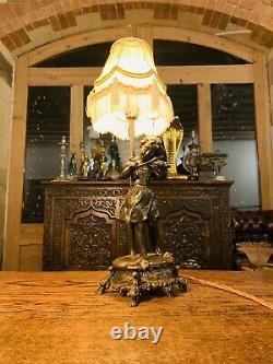 Moreau Violin Girl Bronze Table Lamp