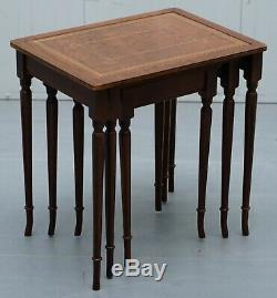 Nest Of Three Mahogany With Brown Leather Top And Gold Leaf Embossed Side Tables