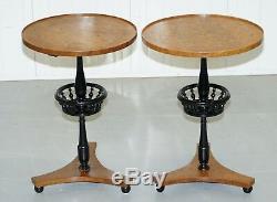 Nice Pair Of Restored Biedermeier Burr Walnut Side End Lamp Wine Tables Ebonised