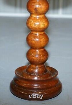 Nice Small Chunky Victorian Walnut Bobbin Turned Pillar Side End Lamp Wine Table