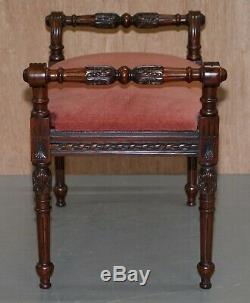 Ornately Carved Mahogany Vintage Regency Style Piano Stool Dressing Table Bench