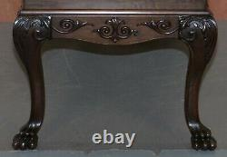 Ornately Carved Oversized Writing Table Desk Green Leather Top Lion Hairy Feet
