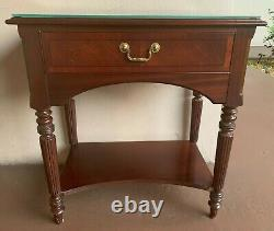 PRISTINEEthan Allen 18th Century Mahogany Night Table withGlass Top