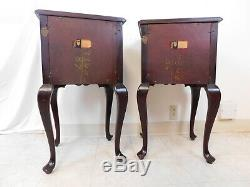 Pair 1940s Solid Mahogany Chippendale Side Tables Nightstands Maddox New York