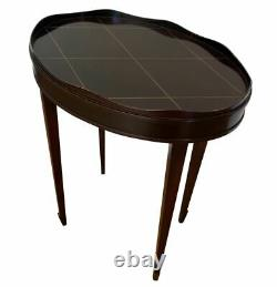 Pair Barbara Barry for Baker Furniture Oval Gallery Edge Side Tables