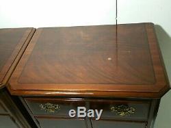 Pair Drexel Heritage Chippendale End Tables/Nightstands Drawer, Doors