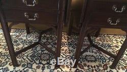 Pair HENKEL HARRIS Cherry Chippendale Pembroke Tables #5425