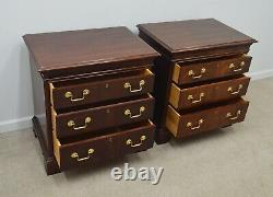 Pair Hickory Chair James River Mahogany Chippendale Nightstands Bedside Tables