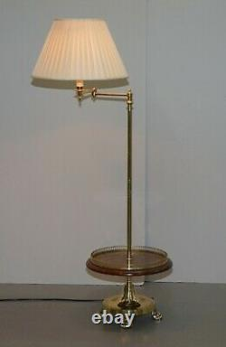 Pair Of Articulated Regency Brass Gallery Burr Walnut Side Table Reading Lamps