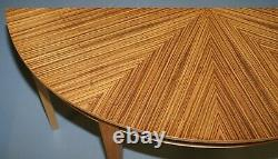 Pair Of Brand New Bevan Funnell Phoenix Zebrano Wood Demi Lune Console Tables