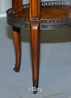 Pair Of Burr Walnut Brass Gallery Rail Theodore Alexander Side End Lamp Tables