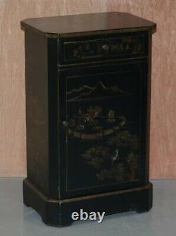 Pair Of Chinese Antique Hand Painted Chinoiserie Side Table Cabinets Cupboards