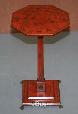 Pair Of Circa 1940's Red Lacquered Chinese Chinoiserie Side Lamp End Wine Tables