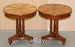 Pair Of E. G Hudson Regency Drum Style Side End Wine Lamp Tables Inc Four Drawers
