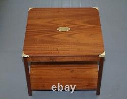 Pair Of Harrods London Kennedy Mahogany Military Campaign Side End Lamp Tables
