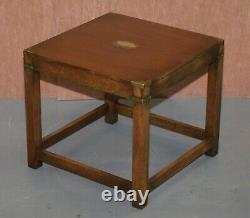 Pair Of Harrods R. E. H Kennedy Mahogany Military Campaign Side End Lamp Tables