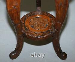 Pair Of Liberty's London Three Monkey Hear See Speak No Evil Carved Side Tables