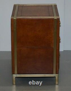 Pair Of Luxury Brown Leather, Brass Framed Bedside / Side Table Chest Of Drawers