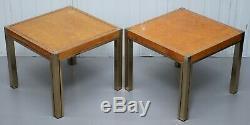 Pair Of Renato Zevi 1923-96 Maple & Brass Jeroen Markies Side End Lamp Tables
