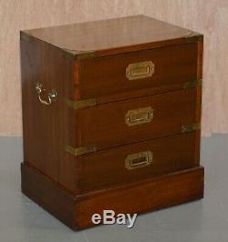Pair Of Restored Mahogany Military Campaign Bedside Lamp Table Chest Of Drawers