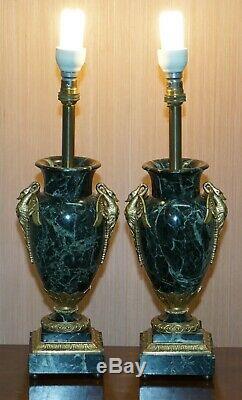 Pair Of Verde Marble Swan Gilt Metal Handle Mounted Vase Table Lamps Circa 1900