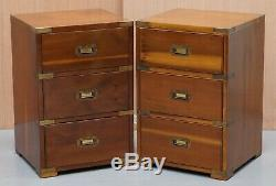 Pair Of Vintage Bevan Funnel Burr Yew Wood Military Campaign Side Table Drawers