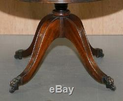 Pair Of Vintage Brown Leather Topped Revolving Bookcases Side Table Drawers Size