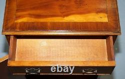 Pair Of Vintage Burr Yew Wood Lamp Side End Wine Table Cupboards With Drawers