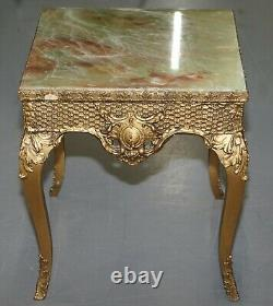 Pair Of Vintage French Side Tables With Gold Gilt Style Finish & Faux Marble Top