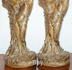 Pair Of Vintage Style Maiden Seducing Zeus Statue Table Lamps Nicely Decorative
