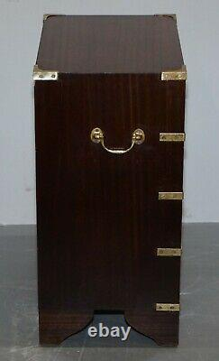 Pair Ofvintage Harrods Kennedy Military Campaign Side Table Chests Of Drawers