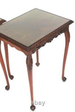 Pair of Chippendale Carved Mahogany Side Occasional Tables 6302