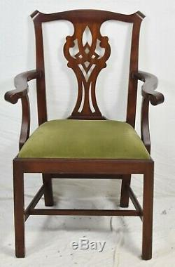 Pair of Henkel Harris Chippendale Style Arm Dining Chairs Model 101 #29 Finish