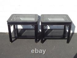 Pair of Tables Fretwork Lacquer Cocktail Accent End Table Chinese Chinoiserie