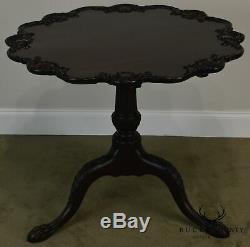 Potthast Handmade Vintage Carved Chippendale Style Pie Crust Tilt Top Table