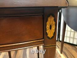 Pretty Hickory Chair Pembroke Inlaid Mahogany Drop-Leaf Table