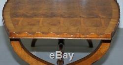 Rare 1930 Oyster Veneered Cross Band Coffee Table Scalloped Edge Walnut Mahogany