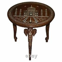 Rare Anglo Indian Export Taj Mahal Elephant Rosewood Inlaid Side Lamp Wine Table