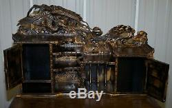 Rare Chinese Export Dragons Phoenix Bird Writing Table Desk And Matching Chair